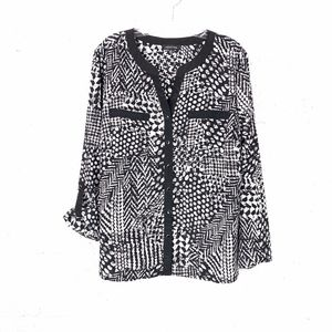 Notations Black & White Blouse Roll Up Sleeve, XL